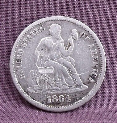 U.S. 1864-S SEATED LIBERTY DIME Some VF Details