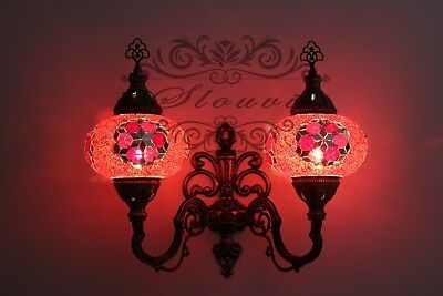 Turkish  Mosaic Double  Wall Sconce, With Large Globes, Upward