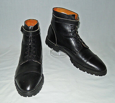 Vtg Black Leather Cap Toe Lace Up Boots Buckle England For Marshall Field 10 1/2