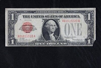 $1 1928 red seal US Note A01015525A one dollar single year issue, FREE SHIPPING
