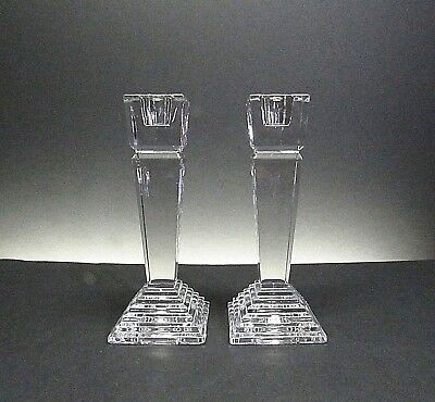 Lenox Crystal .. Ovations Monument Collection .. Pair Of Crystal Candle Holders
