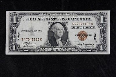 $1 HAWAII 1935A brown seal silver certificate S47041136C one dollar, FREE SHIP.