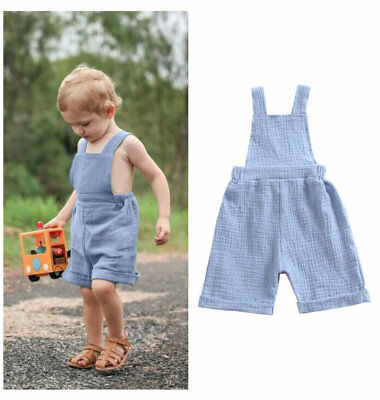 Summer Toddler Kids baby boy jumpsuit baby loose linen pants overall boy rompers