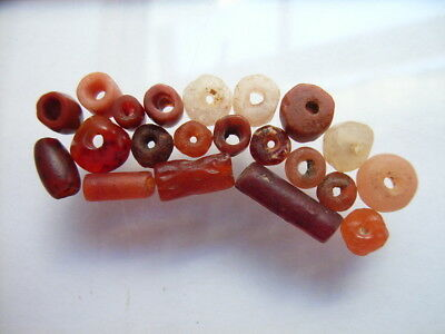 20 Ancient Neolithic Carnelian, Quartz Beads, Stone Age, VERY RARE!