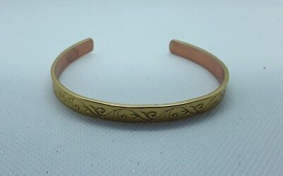 6 Long 4mm Wide Boots Brand Gold Tone Copper Bangle Bracelet