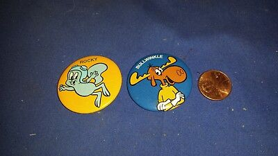 vtg 1984 ROCKY & BULLWINKLE Pinback Buttons P.A.T. WARD shipping included