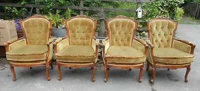 Set Of 4 Vintage Stunning Rococo Style Carved Armchairs - Good Order