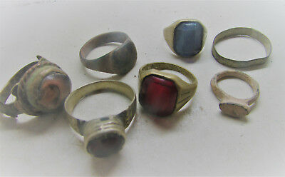 Nice Lot Of Roman - Post Medieval Bronze Decorated Rings (1)
