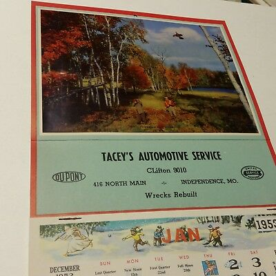 1953 TACEY'S AUTOMOTIVE SERVICE Give Away Wall Calender Pheasant Hunters NOS