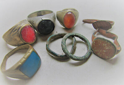 Nice Lot Of Roman - Post Medieval Bronze Decorated Rings (6)