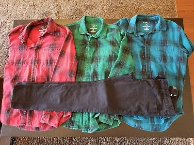 Clothing Lot Boys Mens 3 M Flannel Shirt Rude 32/32 Skinny Jeans Black Red Blue