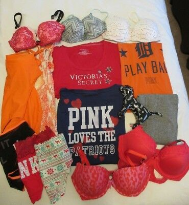 VICTORIA'S SECRET Mixed 15 Piece Lot SOME NWT Bras Panties Clothes Resell Resale