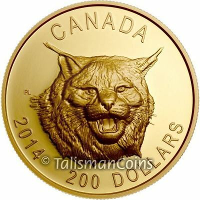 Canada 2014 Fierce Canadian Lynx $200 1+ Oz .99999 Pure Gold Proof High Relief