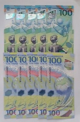 10 x 100 RUBLES Russia FIFA 2018 World Cup Russia Polymer UNC FROM bundle