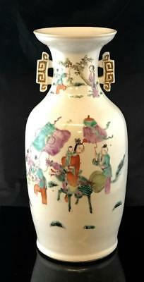 Antique Chinese Porcelain Famille Rose / Verte Vase Republic Period or Earlier