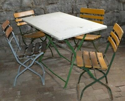 Vtg Wood Brauerei Sigwart  Weibenburg Beer Folding French Cafe table w/ 4 chairs