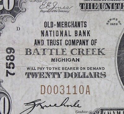 $20 1929 brown seal National Currency Battle Creek MI charter 7589, FREE SHIP