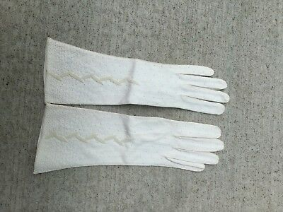 Ladies Vintage Beaded White Gloves Glove Clothing Evening Formal Bride Wedding