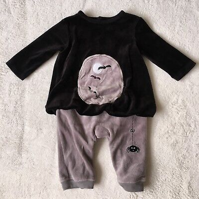 ***Mamas and Papas baby boy Velour Halloween sleepsuit outfit 3-6 months VGC***