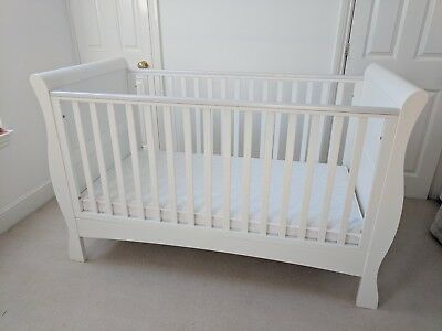 Izziwotnot Bailey Sleigh Cot Bed (White) plus mattress - Great Condition