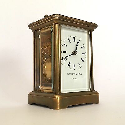 Matthew Norman London Solid Brass 8 Day Swiss Made Carriage Clock