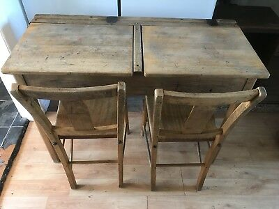 Vintage Solid Wood School Desk. (twin)
