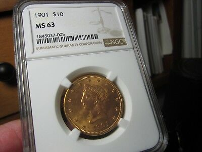 Quality Liberty Head $10.00 Gold Piece 1901 Ms-63 Ngc  A Nice Looking Gold Coin