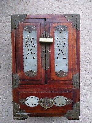 Vintage Chinese Hand Carved Jade Brass Wood Jewelry Box Chest Cabinet Silk Lined
