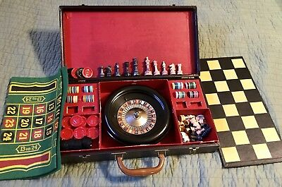 Vintage Gaming Set Attache Case Roulette Chess Checkers