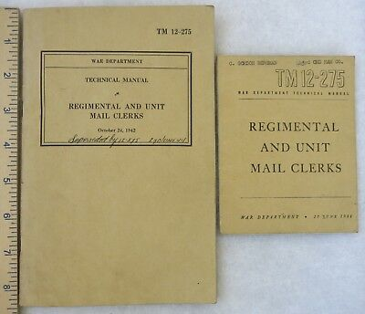WW2 Vintage 1942 & 1944 US TM 12-275 MAIL CLERKS,  G.I. TECHNICAL GUIDE BOOKS