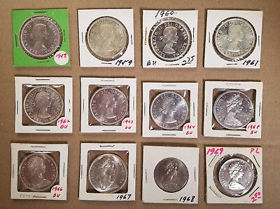 Lot of 12 Canadian Silver Dollars 1958 to 1969  Most 80% Silver    High Quality