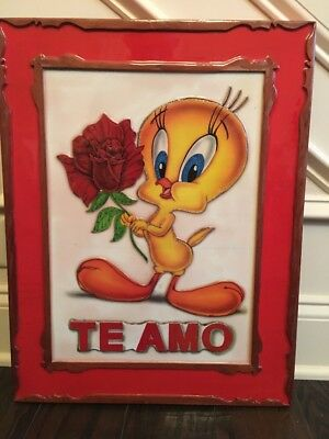 "Tweety Bird 16""x 20 1/2"" Picture Made From Wood from Warner bros.~unique!!"
