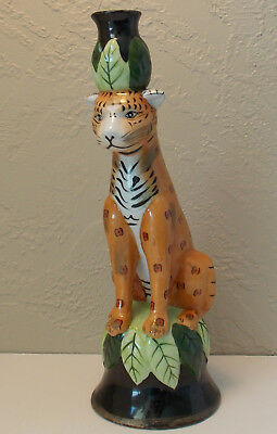 Vintage Majolica Spotted Leopard Cat Candle Holder 12""