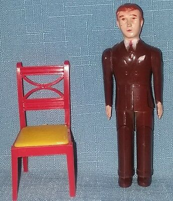 Vintage Renwal Father Man Doll & Chair For Marx Ideal Cohn Tin Dollhouse Vgc