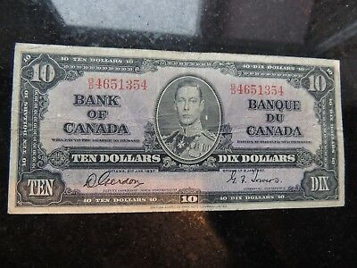 1937 BANK OF CANADA $ 10 TEN DOLLARS GORDON TOWERS B/D 4651354 BC-24b
