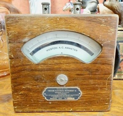 Vintage WESTON ELECTRICAL Instrument Co. AC Ammeter Model 155 in Wooden Case