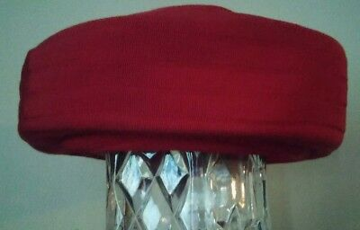 Vintage Womens Ladies Red Faille Hat Adrien Rounder Original