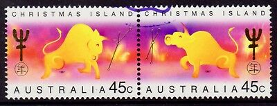 1997 Christmas Island Lunar New Year of the Ox Se-Tenant Pair Cancelled to Order