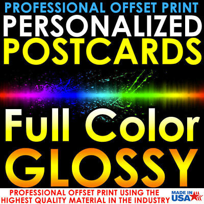 1000 Personalized Custom Printed 4X6 Postcards Full Color Uv Gloss Professional