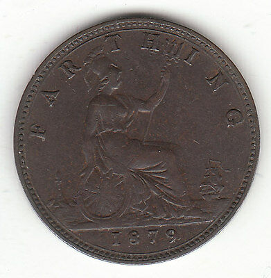 1879 Great Britain Queen Victoria 1 One Farthing.  Nice Grade.