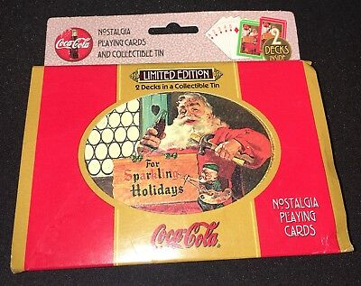 Coca-Cola Nostalgia Playing Cards Unopened 2 Deck Limited Edition Tin