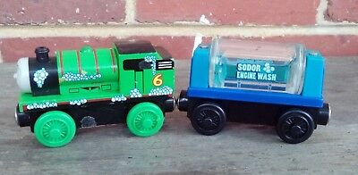 Thomas The Tank Engine WOODEN - TOMY SUDSY PERCY & ENGINE WASH TANKER