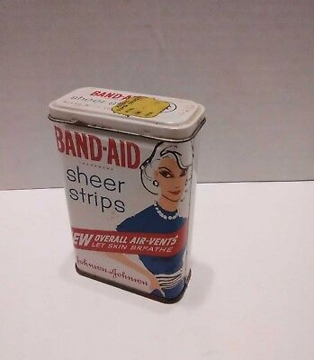 Vintage metal Band Aid tin container ad