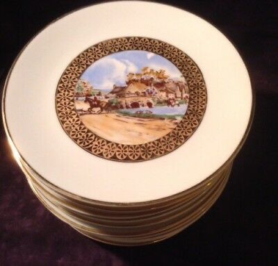 12 C.P Limoges 5.5 Inch Antique Hunting Small Village Scene Plates Lovely