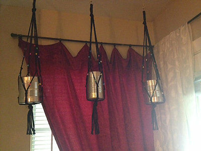 Macrame' Plant Hangers Set of 3 Indoor/Outdoor Patio Decor ~ Black Magic Gypsy