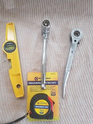 Heavy Duty Scaffold Tools Set 10'' Flat 1921 mm Ratchet 7/16 Spanner Level Tape