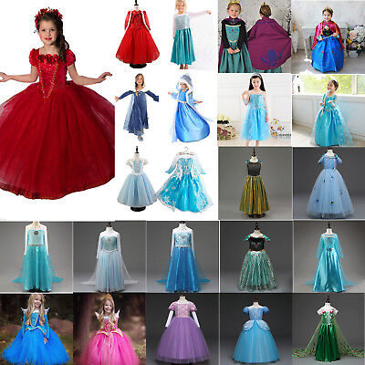 Girls Fancy Dress Up Frozen Elsa Anna Aurora Sleeping Beauty Costume Outfits Lot