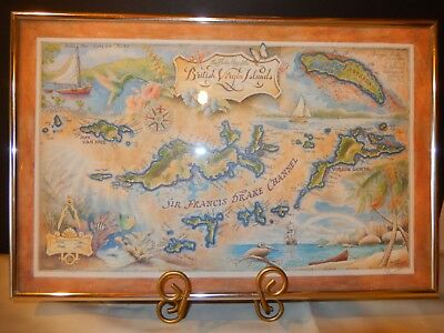 """The Flukes Map of the British Virgin Islands""  Signed and Framed"