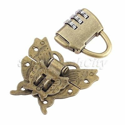 1 Set Butterfly Box Latch Clasp Chinese Old Password Padlock Lock Key Hardware