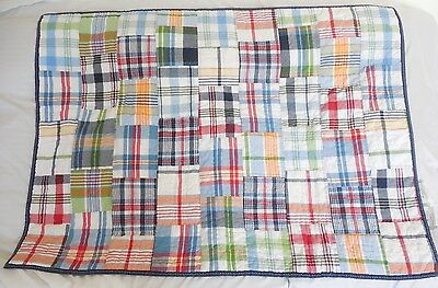 Pottery Barn Kids Madras Nursery Toddle Plaid Quilt NWOT